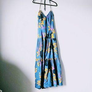 H&M US 6 Blue Floral Long Halter Maxi Dress